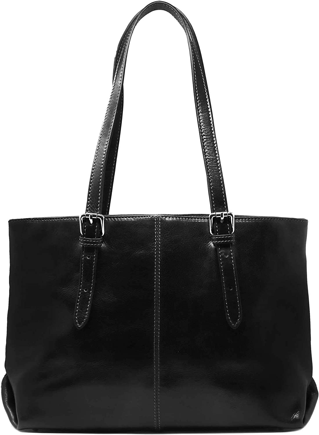 Floto Venezia Italian Leather Shopping Tote Bag Shoulder Bag Women's (Black)
