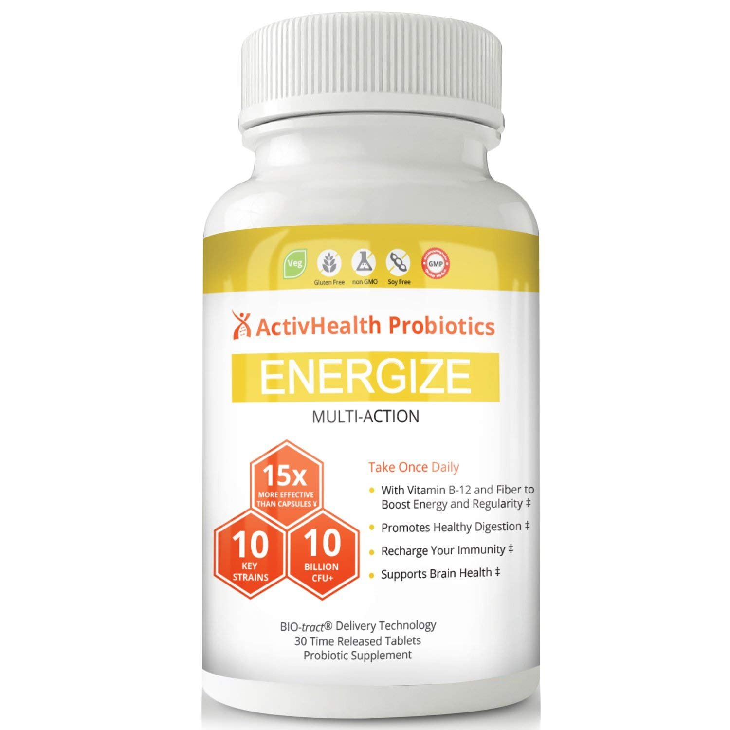 PROBIOTIC w/ Vitamin B12 DOCTOR APPROVED - ENERGIZE PROBIOTICS to Jumpstart Your Day! 150 Billion CFU Efficacy Rate, Probiotic Works 15 Times Stronger to Boost Brain Health, Digestion and Immunity