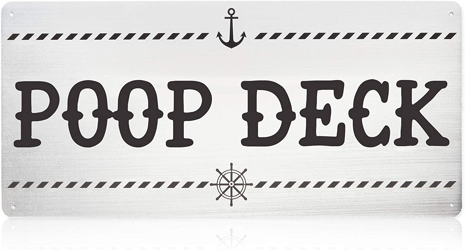 Okuna Outpost Funny Nautical Wall Decor for Baby Nursery, Poop Deck (16 x 7.5 Inches)