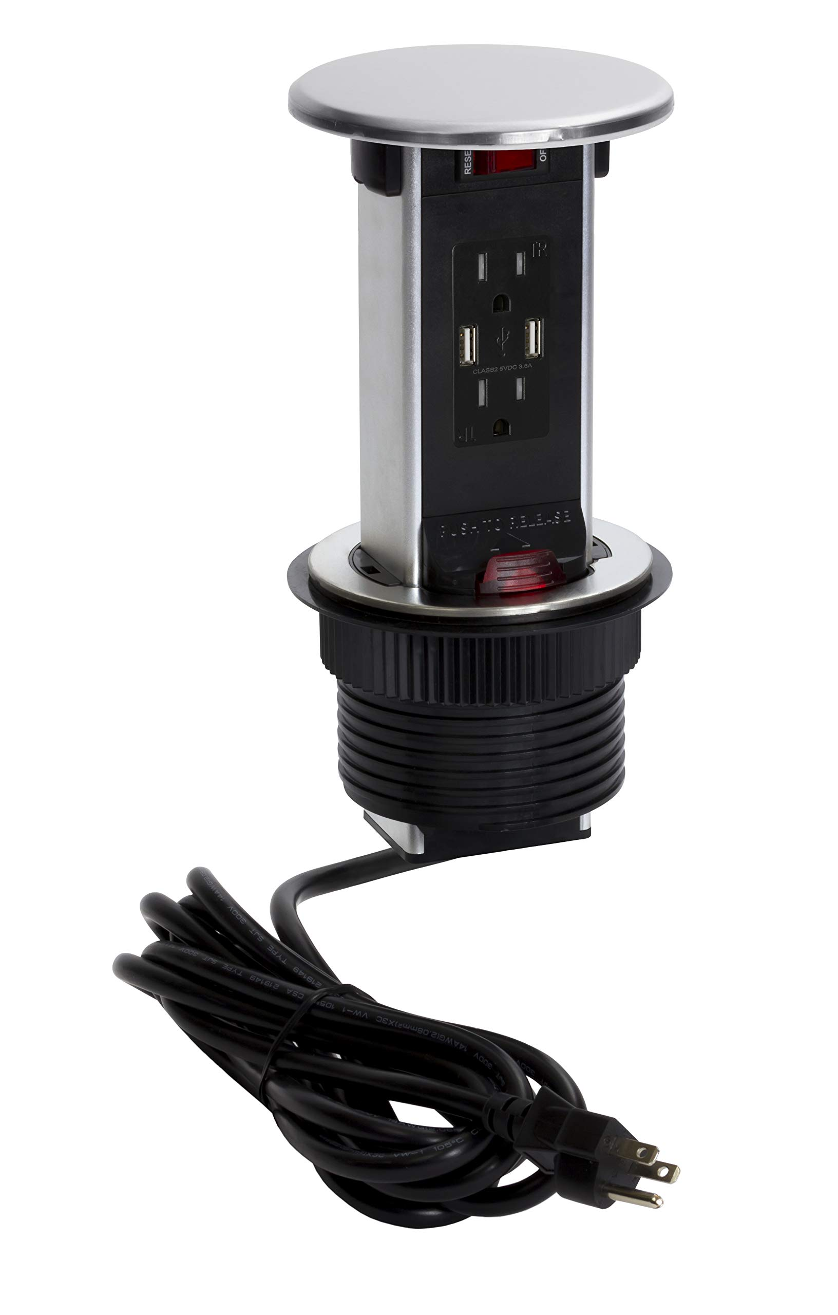 Lew Electric PUR15-S Round Countertop Pop Up 15 Amp Receptacles With USB Ports - Stainless Steel