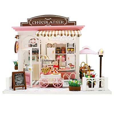 Spilay Dollhouse Miniature with Furniture,DIY Dollhouse Kit Plus Dust Cover and LED Light,1:24 Scale Creative Coffee Room Toys Birthday for Women and Girls(Fantastic Ideas C007): Toys & Games