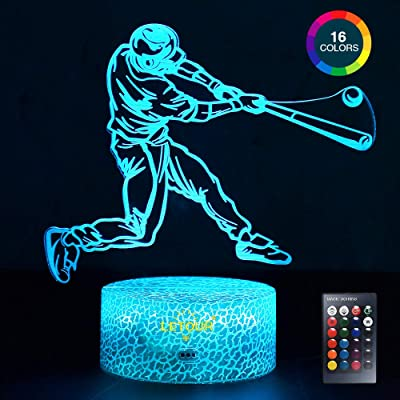 LETOUR Night Light for Kids Baseball 3D Night Light Porpoise Illusion Lamp with Remote Control 16 Color Changing Xmas Halloween Birthday Gift for Child Baby Boy (Remote - Ice Crack Base): Home & Kitchen