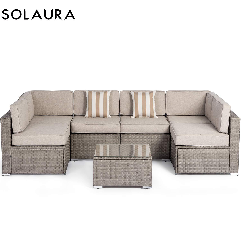 SOLVISTA - Mueble modular para exteriores, 7 piezas, mimbre gris ...