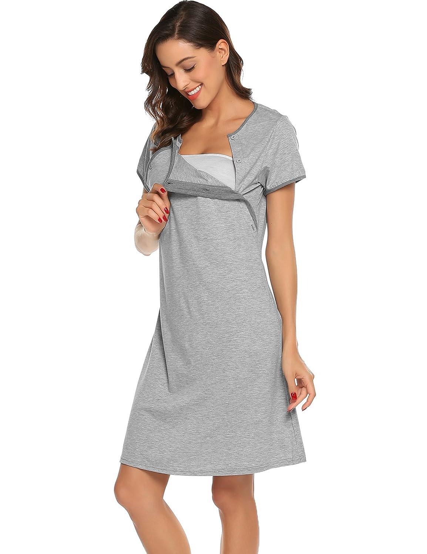 Ekouaer Nursing Nightgown Nightdress Hospital Gown Delivery//Labor//Maternity//Pregnancy Soft Breastfeeding Dress EKV007153