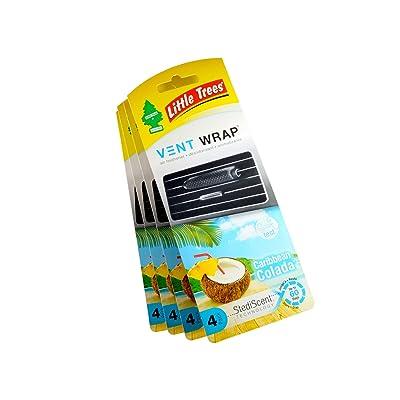 Little Trees Vent Wrap Air Freshener 4-Packs Car Freshner Air Freshener (Caribbean Colada): Automotive