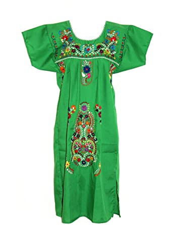 Leos Mexican Imports Mexican Dress Puebla (XXX-Large, Green)