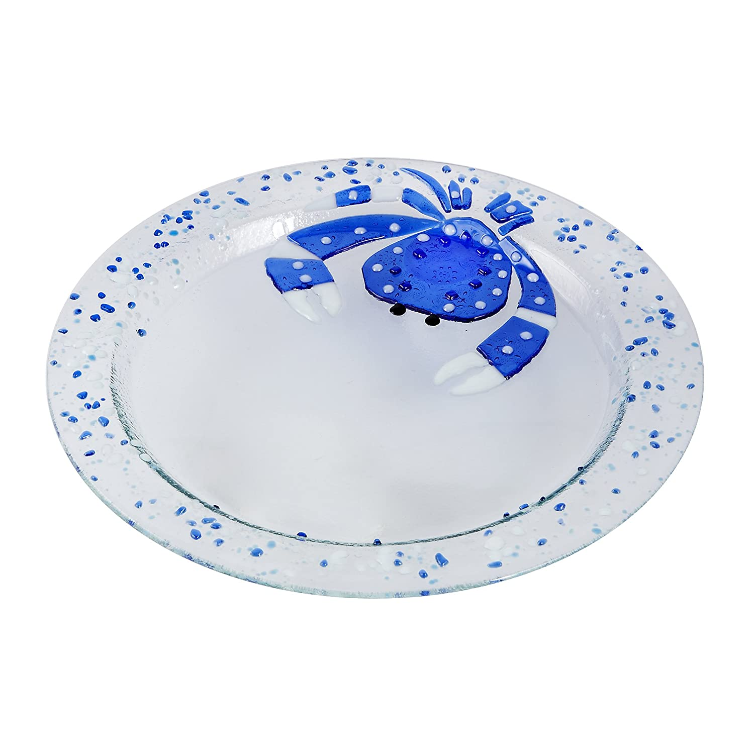 Christmas Tablescape Décor - Mud Pie blue crab square glass serving platter