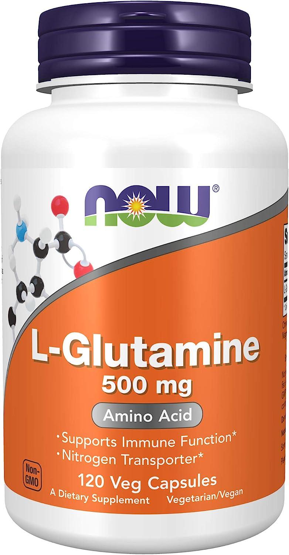 NOW Supplements, L-Glutamine 500 mg, Nitrogen Transporter, Amino Acid, 120 Veg Capsules: Health & Personal Care
