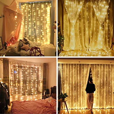 YULIANG LED Curtain Lights, 9.8x9.8ft 8 Mode 300 LED Plug in Twinkle String Lights for Home, Garden, Kitchen, Outdoor Wall, Party, Window Decorations with UL Certificate : Garden & Outdoor