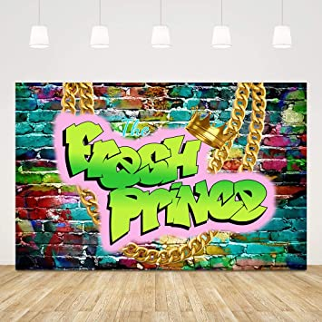 COMOPHOTO 80s Graffiti Backdrop for Photography Retro Hip-Hop Party Banner Brick Wall Photo Backdrop for Photographic Pictures 7x5ft