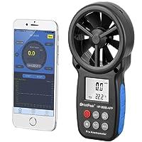 Holdpeak 866B-APP Digital Anemometer Handheld APP Wind Speed Meter for Measuring Wind Speed, Temperature, Wind Chill with Backlight (Black)