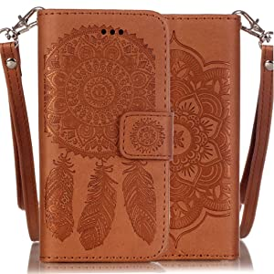 iPhone 6/6s Plus Wallet Case,Silverback(TM) Durable n Lightweight with Henna Mandala & Dream Catcher Floral Pattern Magnetic Closure,Faux Leather For Apple iPhone 6 Plus/6s Plus (5.5 in) -Brown