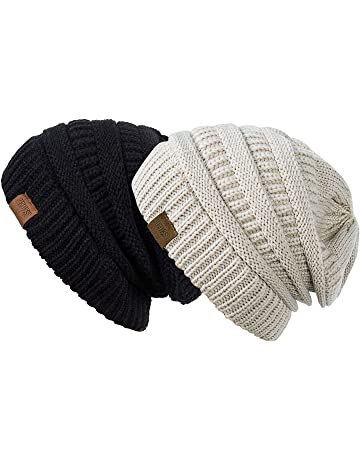REDESS Slouchy Beanie Hat Men Women 2 Pack Winter Warm Chunky Soft Oversized  Cable Knit Cap fab5d1bb88b