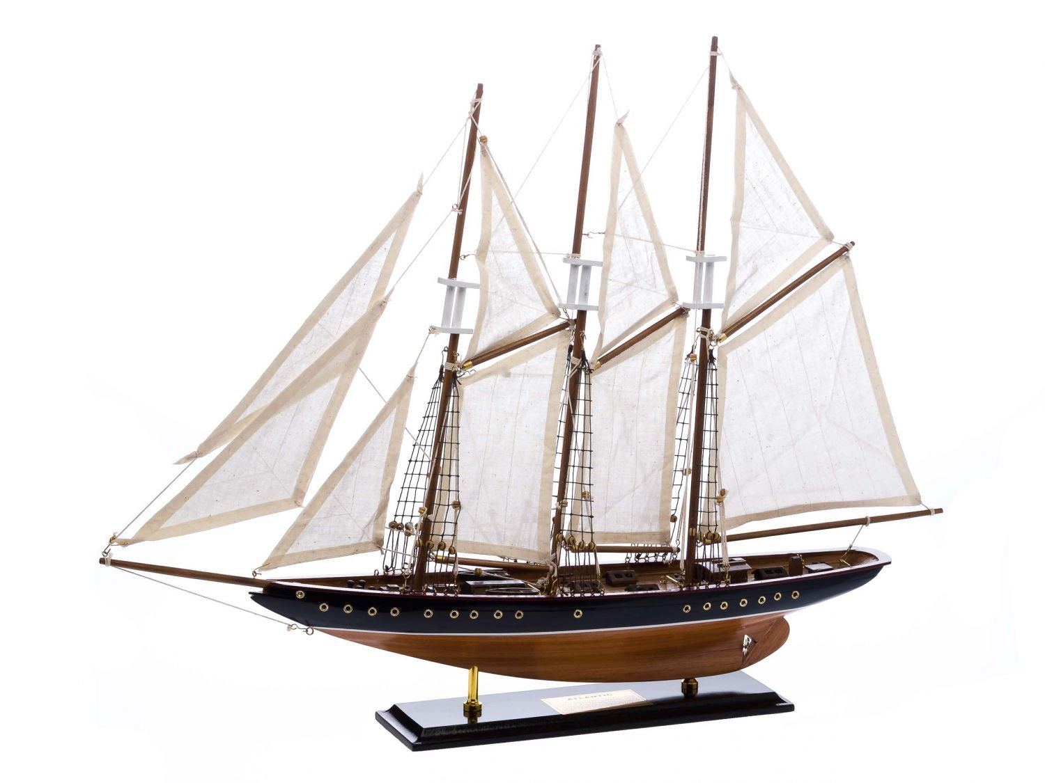 Atlantic model ship - three-masted schooner - wood and fabric sails - 2'4