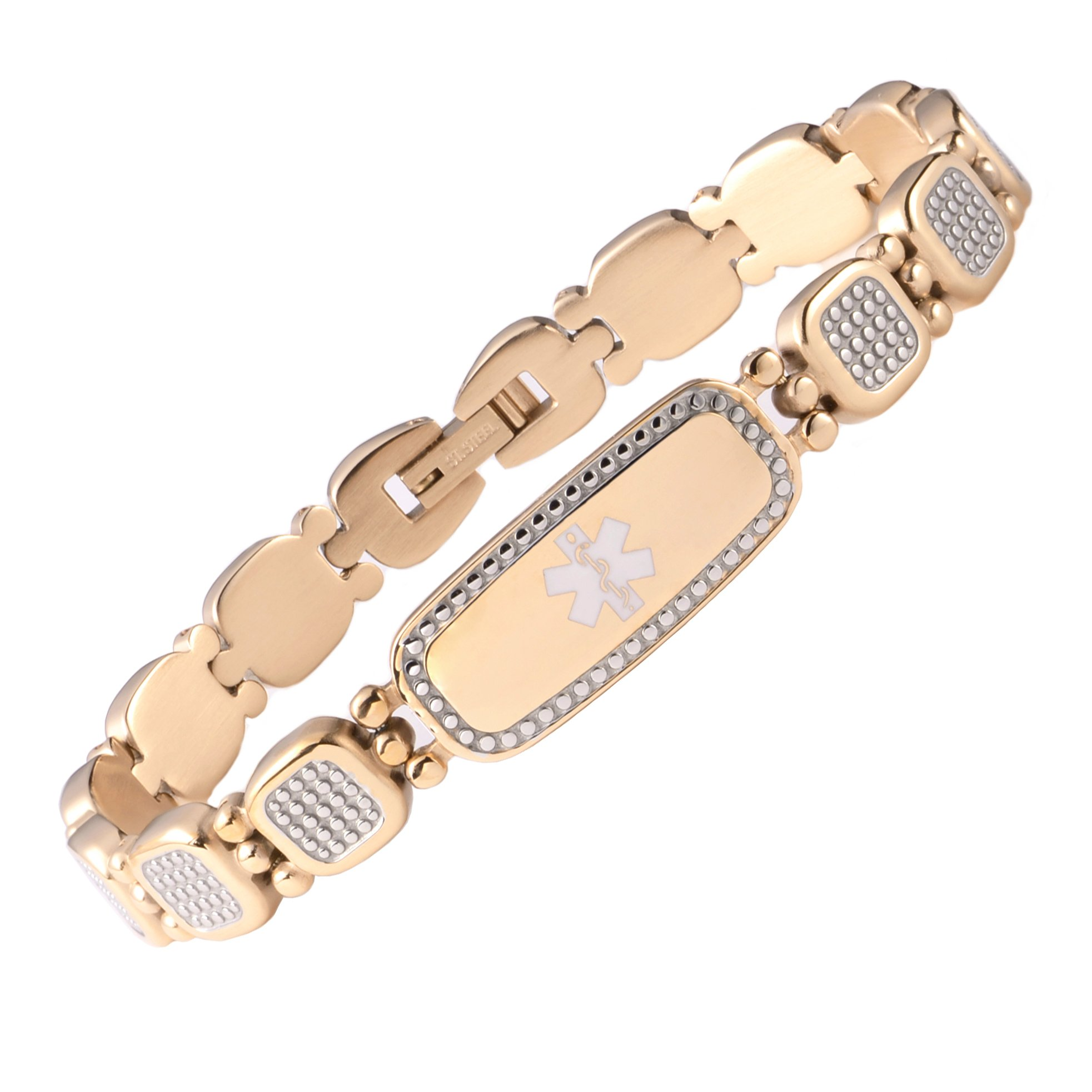 Tarring Gold Shiny Star identification Bracelets for Women with Medical condition Free Engraving(6.5)