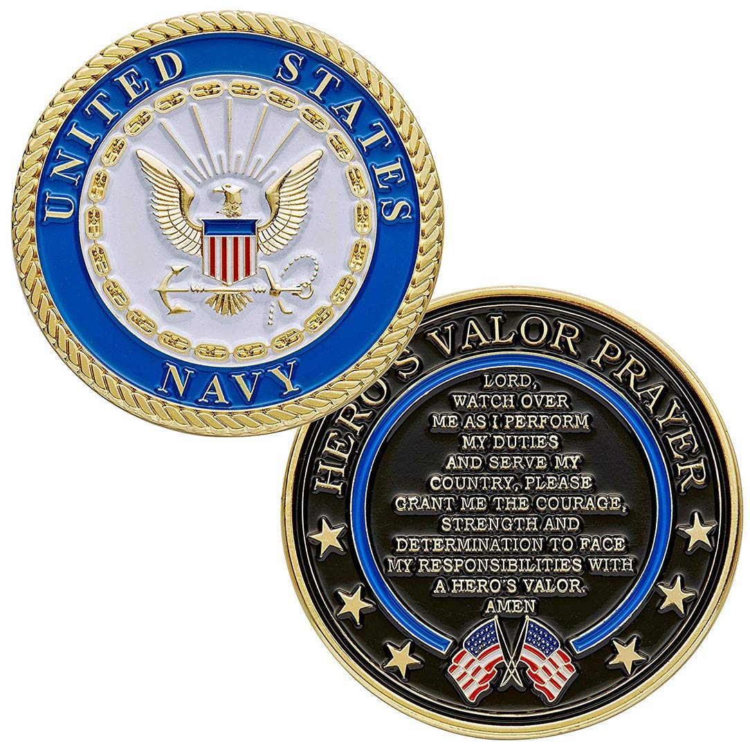 flag connections United States Navy Challenge Coin with Prayer 1 ...