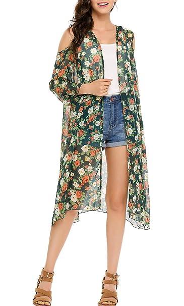 da043b48e0708 Lantusi Women Floral Chiffon Cover Up 3/4 Sleeve Beach Bikini Kimono  Cardigan (XL, Dark Green) at Amazon Women's Clothing store: