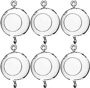 "WGV Hanging Terrarium Globe, Width 4"", Height 6"", Double Hook, DIY Air Succulent Planter, Clear Glass Vase Orb, Candle Holder for Windowsill Outdoor Garden Decor, 6 Pieces Bulk"