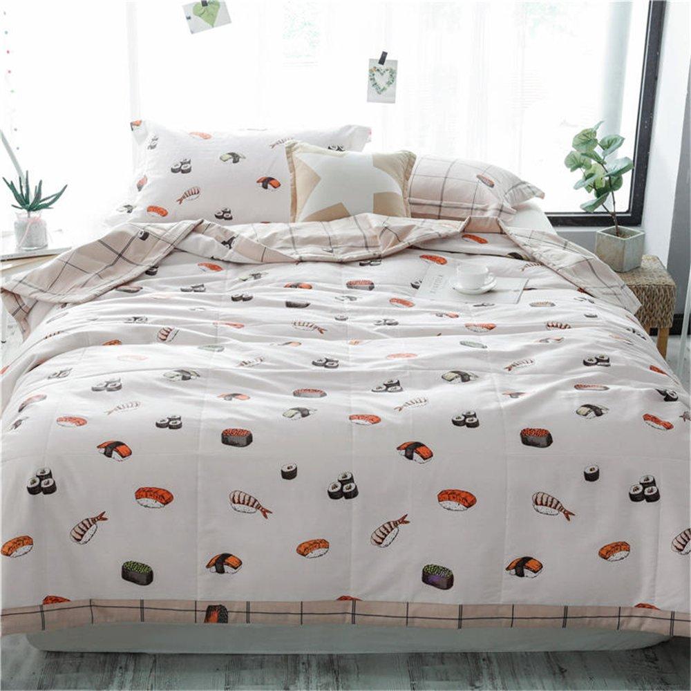Nokolulu Bedding Cotton Sushi Print 3 Size Lightweight Summer Washable Comforter Microfiber Blanket Quilted Throw Quilt(Sushi,79''x91'')