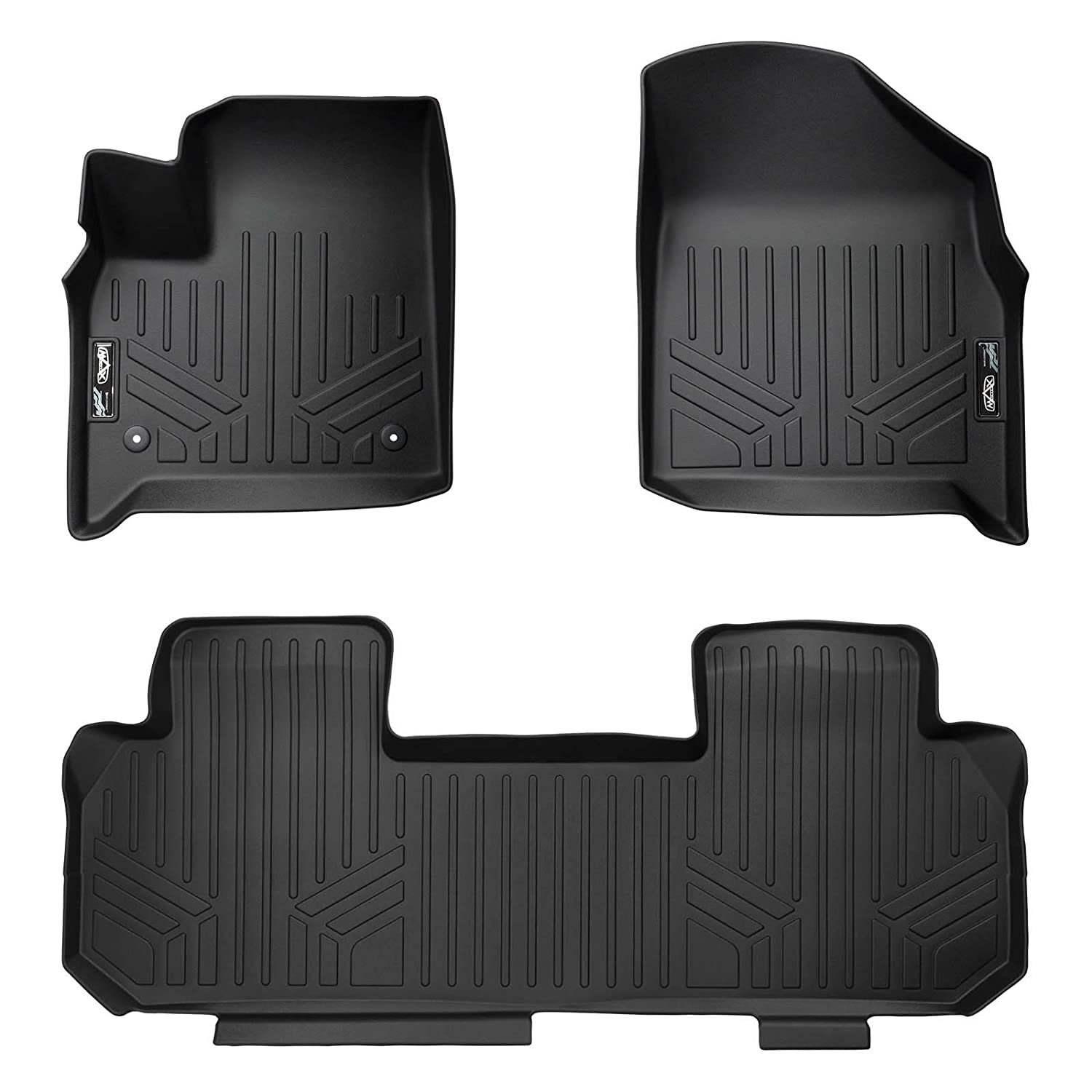 SMARTLINER Floor Mats 2 Row Liner Set Black for 2018-2019 Chevrolet Traverse with 2nd Row Bench Seat MAXLINER A0343//B0343