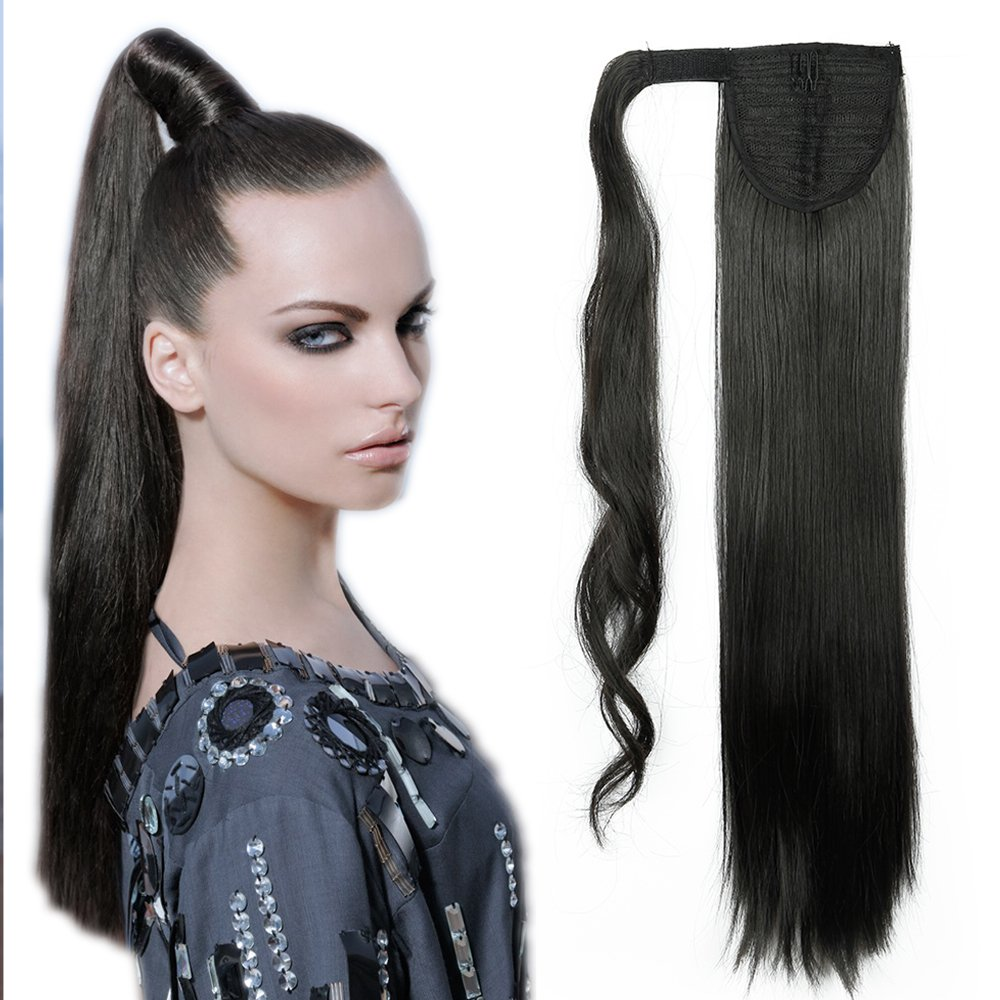 26(66cm) Coleta Postiza de Pelo Sintético Liso con Clips Extensiones de Cabello Invisible y Natural Ponytail Hair Extension (100g, Castaño Chocolate) Lady Outlet Mall