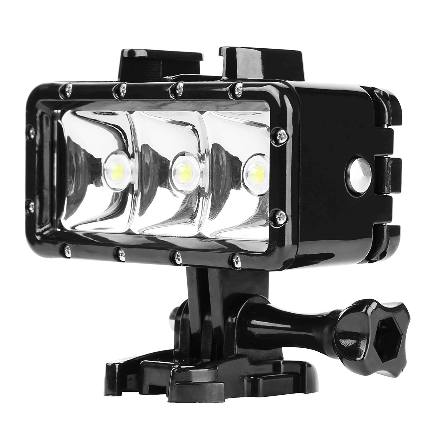 D&F Underwater Flash Diving Light 40M Waterproof with 3 LED Dimmable Flashlight Built-in 1200mAh Rechargeable Battery for GoPro Hero 6/5/4/3+/3, SJCAM,SJ4000 SJ5000 Yi & Other Action Camera