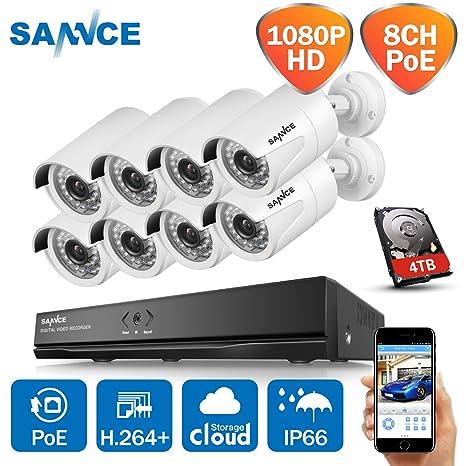 SANNCE 1080P Sistema de Seguridad PoE NVR 8CH 1080P y 8 Cámaras IP de vigilancia 2MP