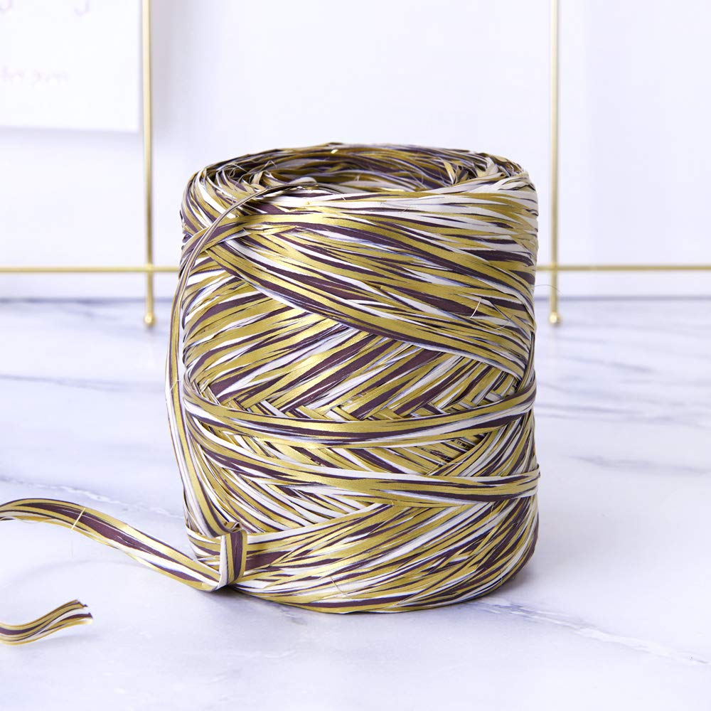 Coffee Colored Paper Raffia, 200 Meters / 218 Yards by Funbou