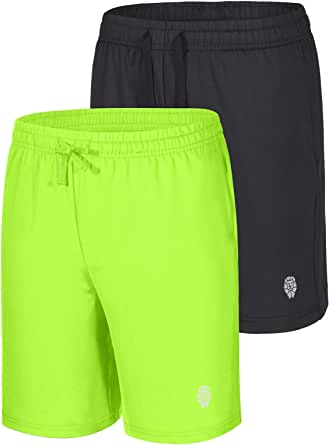 PIQIDIG Youth Boys' Loose Fit Athletic Shorts Quick Dry Active Shorts with Pocket, 2-Pack