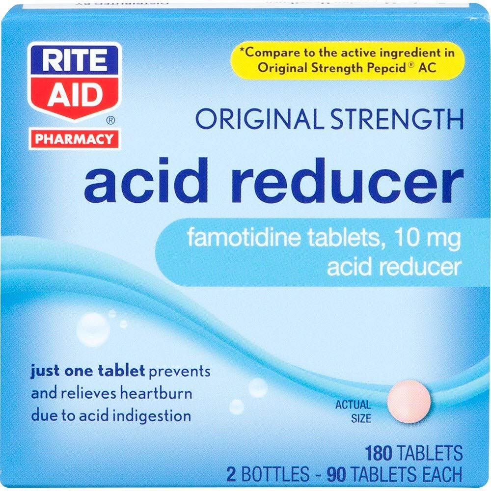 Rite Aid Acid Reducer, Original Strength Famotidine Tablets, 10 mg - 2 Bottles, 90 Count Each (180 Count Total) | Heartburn Relief by Rite Aid