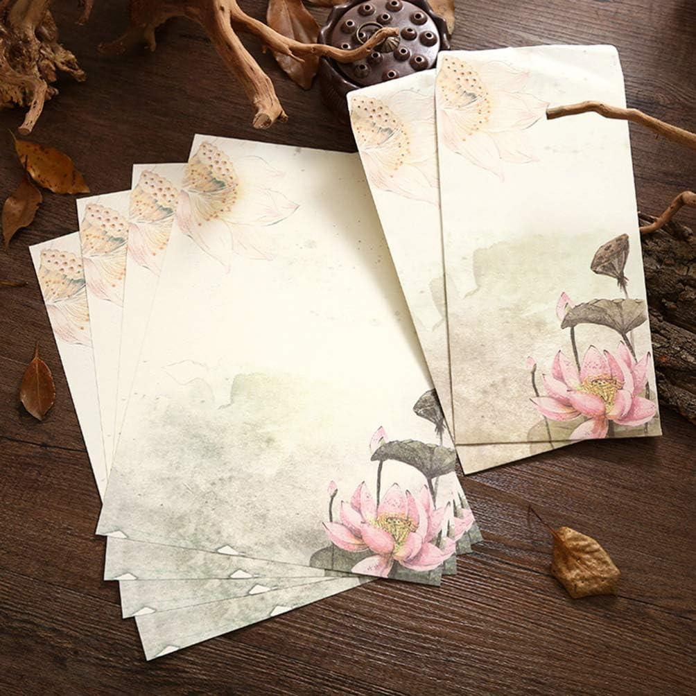 Tipo Casuale Tomaibaby 12 Set Carta da Lettere Vintage per Cartoleria Buste con Motivi Bellissimi Set Carta da Lettere per Cancelleria Set per Scrivere Note