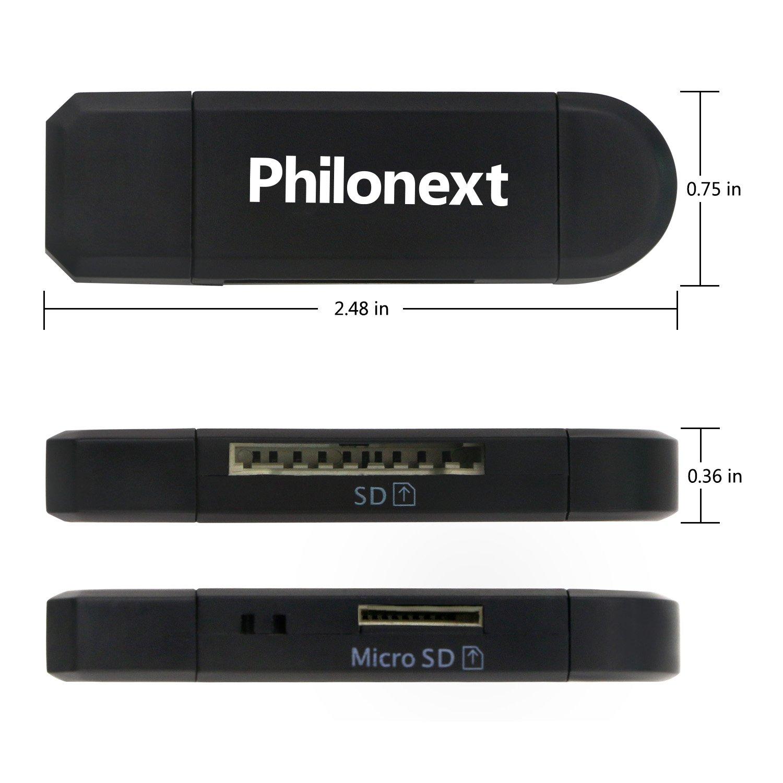 Philonext Lector de Tarjetas//Escritor USB Negro