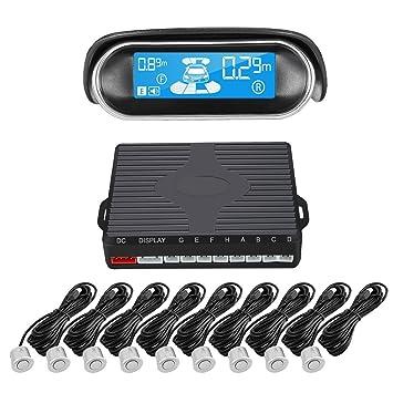 AUDEW - kit de 8 sensores de aparcamiento con radar de marcha atrás para coche sónico con pantalla de marcha atrás: Amazon.es: Coche y moto