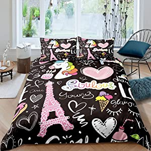 Manfei Eiffel Tower Comforter Cover Set Pink Love Strawberry Unicorn Decor Duvet Cover Paris Tower Bedding Set 3pcs for Girls Soft Polyester Quilt Cover with 2 Pillow Cases(No Comforter) Queen Size