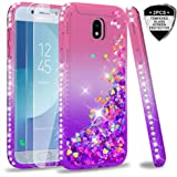 LeY Galaxy J5 2017 Case with Tempered Glass Screen Protector [2 pack], Girl Women 3D Glitter Liquid Cute Personalised Clear Silicone Gel Shockproof Phone Cover for Samsung J5 2017 Pink Purple