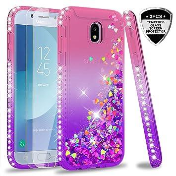 LeYi Compatible with Funda Samsung Galaxy J5 2017 Silicona Purpurina Carcasa con [2-Unidades Cristal Vidrio Templado],Transparente Cristal Bumper ...