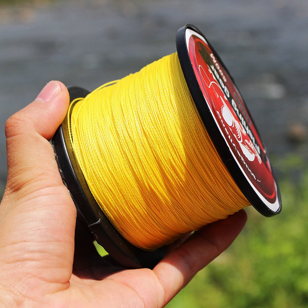 Sougayilang 500m/547Yards 4 Strands 12lb-72lb Multifilament Pe Superbraid and Braided Fishing Line - Color Yellow