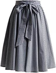 6fb56a0b7422 Double Trouble Apparel Gingham Swing Skirt with Stretch Waist in Black