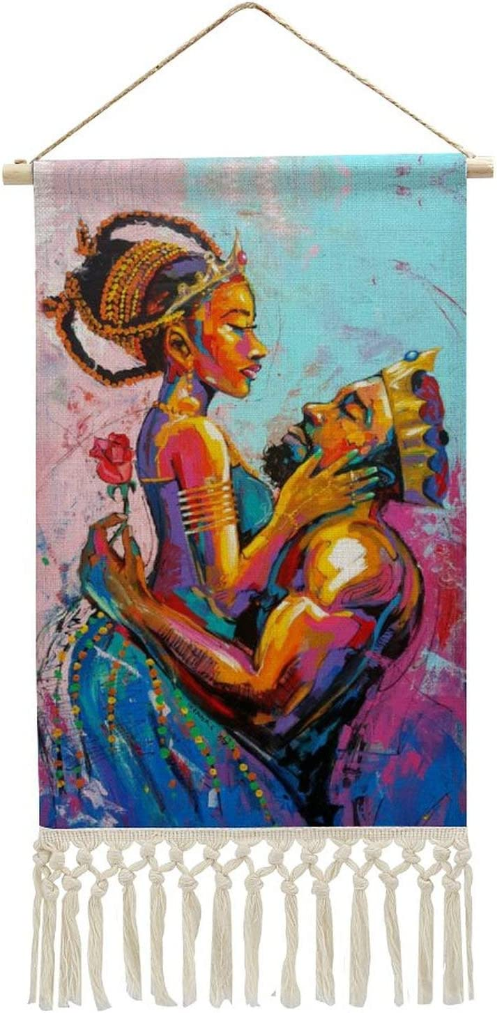 African American King and Queen Crown Lovers Couple Wall Decorations Hanging Poster Canvas Wall Art Tapestry As Gifts, Decoration for Home, Dorm, Office & Comic 14.9
