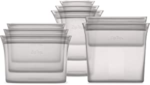 Zip Top Reusable 100% Platinum Silicone Containers - Full Set of 8 - Gray