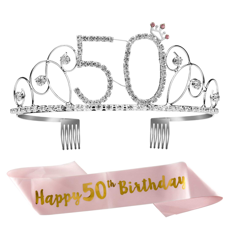 ZOEON Tiara Cristal Corona con Fajín para Fiesta de Cumpleaños (50)