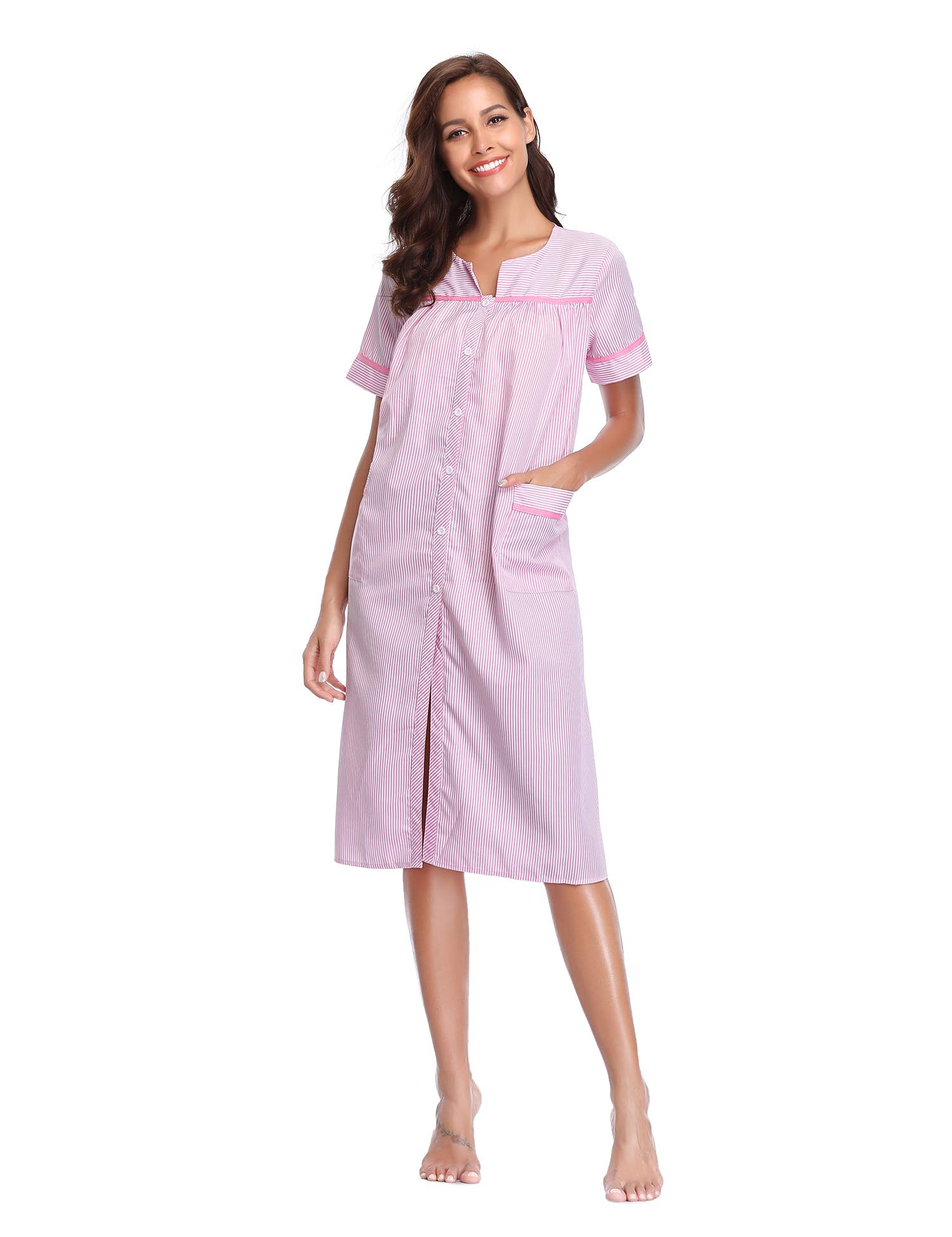 Lusofie House Coat Women Button Front Striped Sleepwear Long Cotton Nightgown (Pink, L)