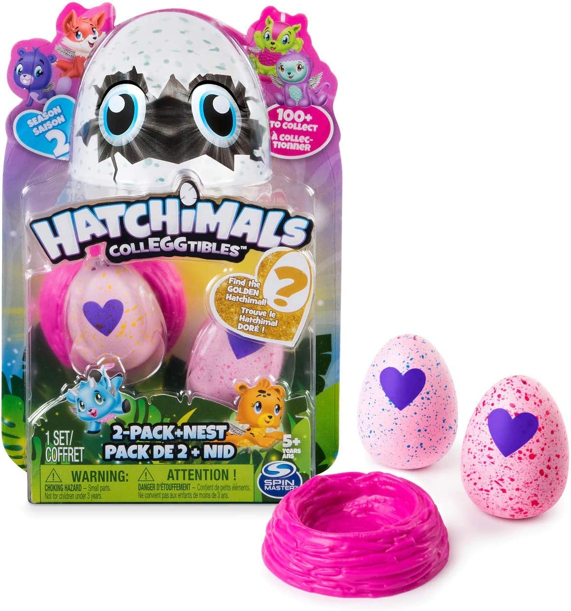 Amazon Com Spinmaster Hatchimals Colleggtibles 2 Pack Nest Season 2 Find The Golden Hatchimal 1 Set Multicolor Toys Games