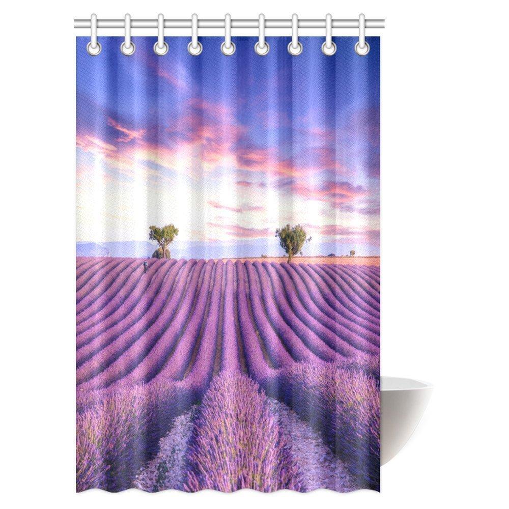Amazon.com: InterestPrint Purple Lavender Shower Curtain, Lavender ...