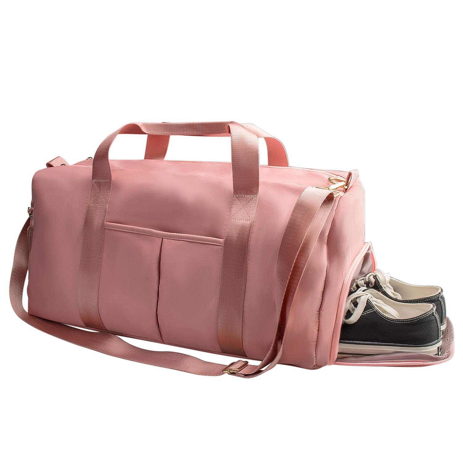 Suruid Gym Bag for Women, Workout Duffel Bag Shoe Compartment, Sports Gym Travel Bags with Dry Wet Pocket and Shoe Compartment – Pink