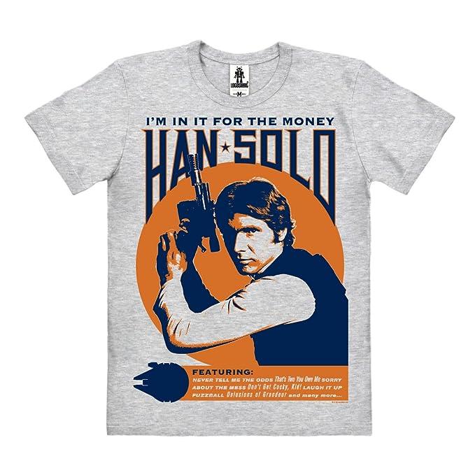 Logoshirt Star Wars - Han Solo - Im In It For The Money Camiseta 100% Algodón ecológico (Cultivo ecológico) - Gris Vigoré - Diseño Original con Licencia: ...