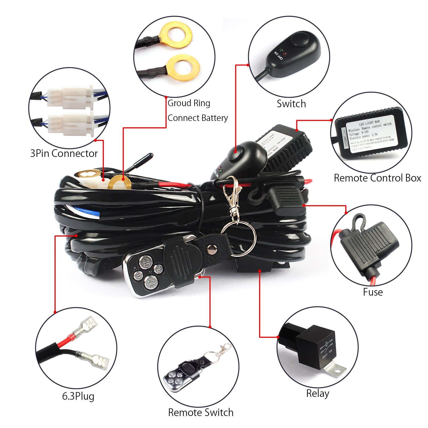 Iring Led Light Bar Relay Mediatown 360 Wiring Harness With Switch And Single Channel Dt Amazoncom Jhe Remote Kit Control