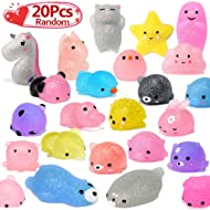 LUDILO 20pcs Glitter Mochi Squishy Toy 2nd Generation Mochi Animals Mini Squishies Party Favors for Kids Kawaii Squishys Unicorn Cat Panda Easter Egg Novelty Toy Stress Relief Toy for Adults, Random