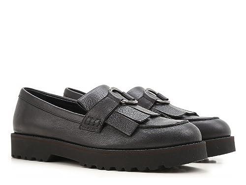 1ee7c260e76 Mocasines de Cuero Negro de la Mujer Hogan con Flecos - Número de Modelo   HXW2590V660DS8B999 - Tamaño  37 EU  Amazon.es  Zapatos y complementos