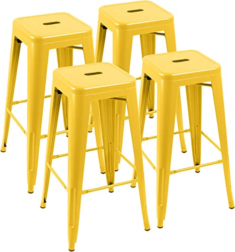 Furniwell 30 Inches Metal Bar Stools High Backless Tolix Indoor-Outdoor Stackable Barstool